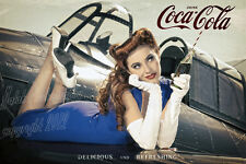 Malak Coca Cola Pin Up Girl Ad Kacie Marie Delicious Refreshing Coke WWII Print
