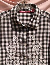 Womens Sz L Black White Check Embroidered Cotton Blouse 3/4 Sleeve