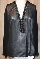 ME BY EMME SO PRETTY  BEADED SHEER CRYSTAL TOP GORGEOUS BEADING BLACK 3X CRUISE