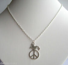 "Unity Peace & Dove Pendant Silver Plated 18"" Chain Necklace in Gift Bag"