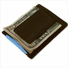 BLACK LEATHER STRONG MONEY CLIP Credit Thin Wallet 340