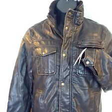 Levis Small Brown Jacket New Mens Faux Leather Midweight Trucker Bomber Coat