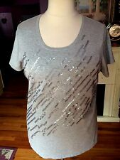 Chit chat  Gray  Sequinned Top   Short Sleeves  Size 1X NWTGS