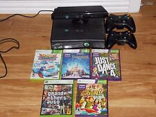 xbox 360 and kinect with 3 wireless remotes and 5 games