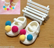 1Pair Crochet Knit DIY Making Newborn Baby Infant Cute Flower Toddler Boot Shoes