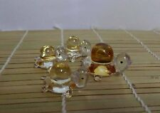 Brand New Mother Baby Yellow Turtle Glass Figure Set Mother with 3 Babies