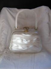 #STUNNINGVINTAGE WHITE PEARL LUCITE PLASTIC PURSE clutch tote handbag