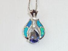 Damen Sterling 925 Silber Opal Weiß Saphir & 1,5 Karat Tansanit Anhänger