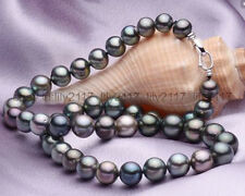 AAA 18inch 10mm Tahitian round black green multicolor pearl necklace 925s