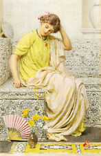 Huge art Oil painting hairpin young girl in her toilet with fan flowers canvas