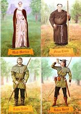 Robin Hood, Maid Marian, Little John & Friar Tuck set of 4 Postcards