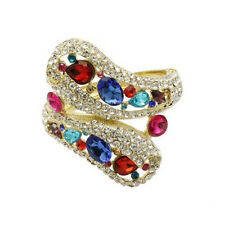 Gold Toned Bangle With Multi-Colored Rhinestones