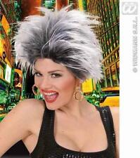 White & Black Spikey Wig With Earrings Rock Goth Rocker Tina Turner Fancy Dress