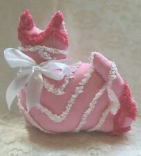 Vintage Pink and White Chenille Cat Cottage pillow Handmade