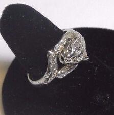 Vintage Sterling Silver 3-D Leopard Ring Signed (M) Size 7.75