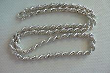 Ancien collier torsadé en argent massif poinçonné , 50,5 cm