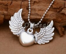 Love925 Sterling Silver Plated Heart Angel Wing Charm Pendant Necklace Jewelry**