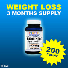 Yacon Root Extract+FOS-1000mg Prebiotic Fiber 3Month Supply Weight Loss 200 Caps
