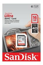 SANDISK 16GB SDHC ULTRA SD CLASS 10 MEMORY CARD HIGH SPEED FOR CAMERA CAMCORDER