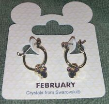 NEW DISNEY PARKS MICKEY ICON FEBRUARY BIRTHSTONE SWAROVSKI GOLD TONE EARRINGS