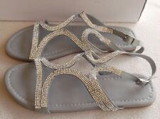 BNIB Grace Hill Silver Jewel  Leather Sandals Size 8