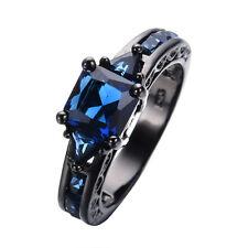 5.0/ct Vintage Blue Sapphire CZ Engagement Ring Sz 8 Womens/Mens 10KT Black Gold