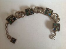Vintage Miracle Bracelet Scottish Celtic, pewter, blue green glass, signed