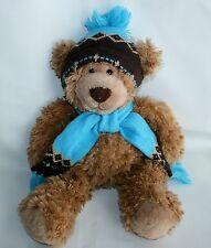 "Mary Meyer Plush Teddy Bear Blue Brown Hat Scarf Winter soft Floppy 17"" EUC"