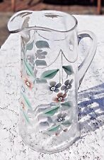 VINTAGE BEAUTIFUL GLASS PITCHER TANKARD WITH HAND PAINTED ENAMEL FLORAL DESIGN