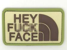 Hey F*** Face PVC Airsoft Patch Green