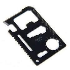Multi-Purpose 11-in-1 Black Stainless Steel Pocket Survival Tool