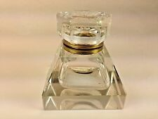 Vintage Large French Cut Crystal And Brass Desk  Inkwell