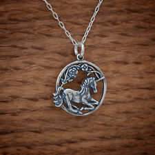 Handcast 925 Sterling Silver Unicorn Charm Pendant FREE Cable Link Chain
