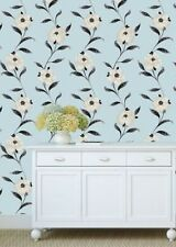 Adele Duck Egg Glitter Floral Textured Vinyl Feature Wallpaper Debona 2462