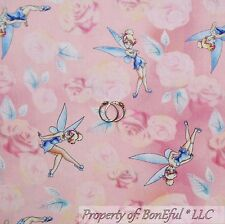 BonEful FABRIC Cotton Quilt Pink TINKERBELL Disney Flower Fairy Princess SCRAP