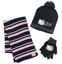 NWT Hello Kity Girls 3 Pc Hat, Gloves and Scarf Set One Size - Black & Pink