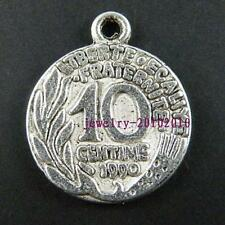 20pcs Tibetan Silver Coin Pendants Charms 23x19x2mm 8902