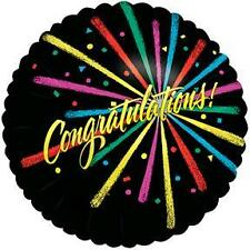 "NEW 18"" CONGRATULATIONS Mylar Foil Balloon Graduation Black Colorburst"