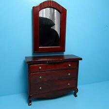 Dollhouse Miniature Wood Dresser with Wall Mirror in Mahogany ~ T3202