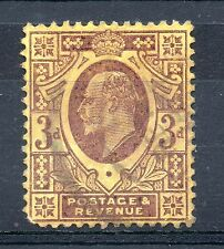 GB = Edward 7th 1902 3d Purple & Yellow SG 232/234. Fine Used. @ 10% Catalogue !