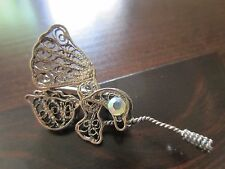 Old VTG Sterling Silver or Silver Tone Flower-Butterfly Filigree Brooch /Pin 3g