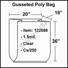 1.5 mil Gusseted Poly Bag 20x18x36 Clear Fda Approved cs/250 (122688)