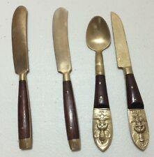 """4 Vintage Brass & Teak Siam Thailand 5"""" Small Knives and Spoon Siam"""