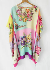 Roaman's Cape/Poncho Swing Top Cover 100% Rayon Multicolor Floral Size M