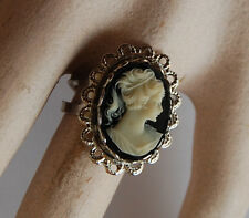 VINTAGE PLASTIC CAMEO RING SILVER COSTUME JEWELRY ADJUSTABLE