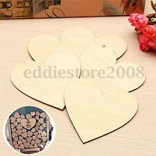 10X Unfinished Wooden Love Heart Shape Weddings Plaques Art Craft Embellishment