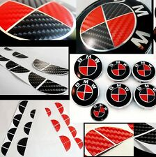 Black & Red CARBON Fiber Decal to BMW BADGES ROUNDELS EMBLEMS Wheels Hood Trunk