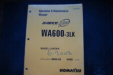 KOMATSU WA600-3LK Wheel Loader Operation Maintenance Manual book operator owner