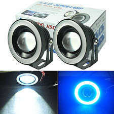 "2x 3.5"" LED Tube Fog Light Projector Car Lamp Ice Blue Angel Eyes Halo Ring DRL"