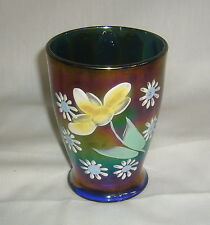 ANTIQUE NORTHWOOD ELECTRIC BLUE CARNIVAL GLASS DAISY & LITTLE FLOWERS TUMBLER